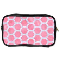 HEXAGON2 WHITE MARBLE & PINK WATERCOLOR Toiletries Bags 2-Side
