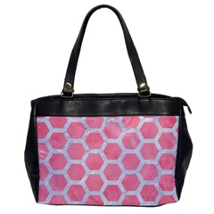 HEXAGON2 WHITE MARBLE & PINK WATERCOLOR Office Handbags