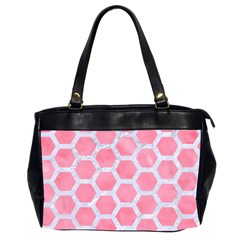 HEXAGON2 WHITE MARBLE & PINK WATERCOLOR Office Handbags (2 Sides)