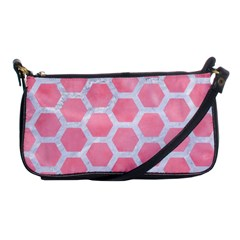 HEXAGON2 WHITE MARBLE & PINK WATERCOLOR Shoulder Clutch Bags
