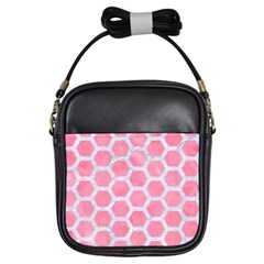 HEXAGON2 WHITE MARBLE & PINK WATERCOLOR Girls Sling Bags