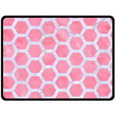 HEXAGON2 WHITE MARBLE & PINK WATERCOLOR Fleece Blanket (Large)