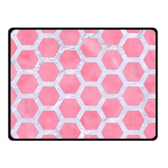 HEXAGON2 WHITE MARBLE & PINK WATERCOLOR Fleece Blanket (Small)