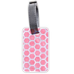 HEXAGON2 WHITE MARBLE & PINK WATERCOLOR Luggage Tags (One Side)