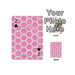 HEXAGON2 WHITE MARBLE & PINK WATERCOLOR Playing Cards 54 (Mini)