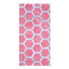 HEXAGON2 WHITE MARBLE & PINK WATERCOLOR Shower Curtain 36  x 72  (Stall)