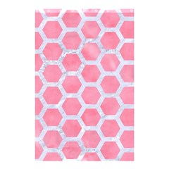 HEXAGON2 WHITE MARBLE & PINK WATERCOLOR Shower Curtain 48  x 72  (Small)