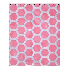 HEXAGON2 WHITE MARBLE & PINK WATERCOLOR Shower Curtain 60  x 72  (Medium)