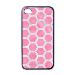 HEXAGON2 WHITE MARBLE & PINK WATERCOLOR Apple iPhone 4 Case (Black)