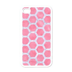 HEXAGON2 WHITE MARBLE & PINK WATERCOLOR Apple iPhone 4 Case (White)