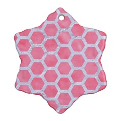 HEXAGON2 WHITE MARBLE & PINK WATERCOLOR Snowflake Ornament (Two Sides)