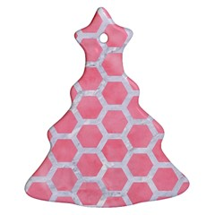 HEXAGON2 WHITE MARBLE & PINK WATERCOLOR Christmas Tree Ornament (Two Sides)