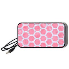 HEXAGON2 WHITE MARBLE & PINK WATERCOLOR Portable Speaker
