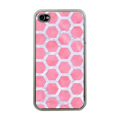 HEXAGON2 WHITE MARBLE & PINK WATERCOLOR Apple iPhone 4 Case (Clear)