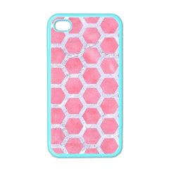 HEXAGON2 WHITE MARBLE & PINK WATERCOLOR Apple iPhone 4 Case (Color)