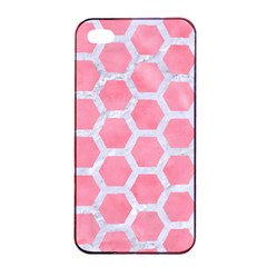 HEXAGON2 WHITE MARBLE & PINK WATERCOLOR Apple iPhone 4/4s Seamless Case (Black)
