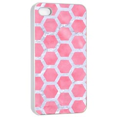 HEXAGON2 WHITE MARBLE & PINK WATERCOLOR Apple iPhone 4/4s Seamless Case (White)