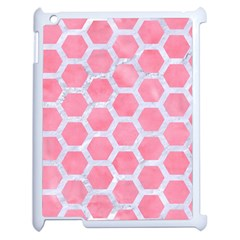 HEXAGON2 WHITE MARBLE & PINK WATERCOLOR Apple iPad 2 Case (White)