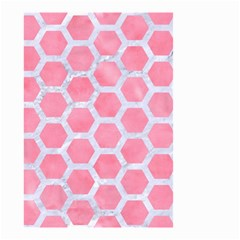 HEXAGON2 WHITE MARBLE & PINK WATERCOLOR Small Garden Flag (Two Sides)