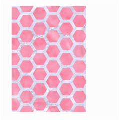 HEXAGON2 WHITE MARBLE & PINK WATERCOLOR Large Garden Flag (Two Sides)