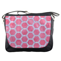 HEXAGON2 WHITE MARBLE & PINK WATERCOLOR Messenger Bags