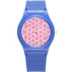 HEXAGON2 WHITE MARBLE & PINK WATERCOLOR Round Plastic Sport Watch (S)