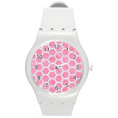 HEXAGON2 WHITE MARBLE & PINK WATERCOLOR Round Plastic Sport Watch (M)
