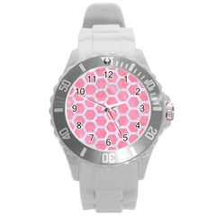 HEXAGON2 WHITE MARBLE & PINK WATERCOLOR Round Plastic Sport Watch (L)