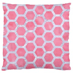 HEXAGON2 WHITE MARBLE & PINK WATERCOLOR Large Cushion Case (Two Sides)
