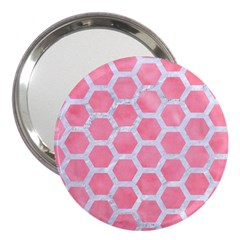 HEXAGON2 WHITE MARBLE & PINK WATERCOLOR 3  Handbag Mirrors