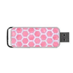 HEXAGON2 WHITE MARBLE & PINK WATERCOLOR Portable USB Flash (One Side)