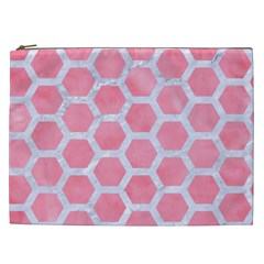 HEXAGON2 WHITE MARBLE & PINK WATERCOLOR Cosmetic Bag (XXL)