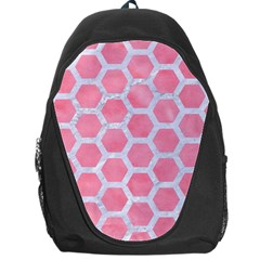 HEXAGON2 WHITE MARBLE & PINK WATERCOLOR Backpack Bag