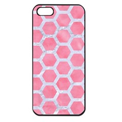 HEXAGON2 WHITE MARBLE & PINK WATERCOLOR Apple iPhone 5 Seamless Case (Black)