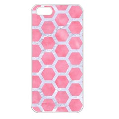 HEXAGON2 WHITE MARBLE & PINK WATERCOLOR Apple iPhone 5 Seamless Case (White)