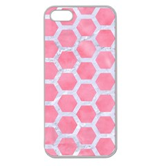 HEXAGON2 WHITE MARBLE & PINK WATERCOLOR Apple Seamless iPhone 5 Case (Clear)