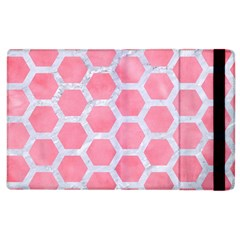 HEXAGON2 WHITE MARBLE & PINK WATERCOLOR Apple iPad 3/4 Flip Case