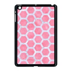 HEXAGON2 WHITE MARBLE & PINK WATERCOLOR Apple iPad Mini Case (Black)