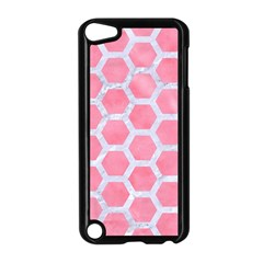 HEXAGON2 WHITE MARBLE & PINK WATERCOLOR Apple iPod Touch 5 Case (Black)