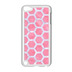 HEXAGON2 WHITE MARBLE & PINK WATERCOLOR Apple iPod Touch 5 Case (White)