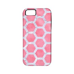 HEXAGON2 WHITE MARBLE & PINK WATERCOLOR Apple iPhone 5 Classic Hardshell Case (PC+Silicone)