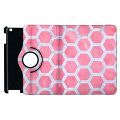 HEXAGON2 WHITE MARBLE & PINK WATERCOLOR Apple iPad 2 Flip 360 Case