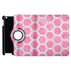 HEXAGON2 WHITE MARBLE & PINK WATERCOLOR Apple iPad 3/4 Flip 360 Case