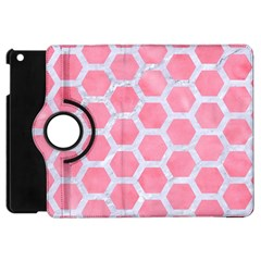 HEXAGON2 WHITE MARBLE & PINK WATERCOLOR Apple iPad Mini Flip 360 Case