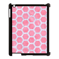 HEXAGON2 WHITE MARBLE & PINK WATERCOLOR Apple iPad 3/4 Case (Black)