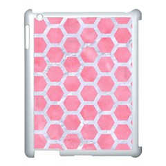 HEXAGON2 WHITE MARBLE & PINK WATERCOLOR Apple iPad 3/4 Case (White)