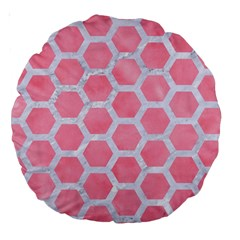 HEXAGON2 WHITE MARBLE & PINK WATERCOLOR Large 18  Premium Round Cushions