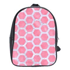 HEXAGON2 WHITE MARBLE & PINK WATERCOLOR School Bag (XL)