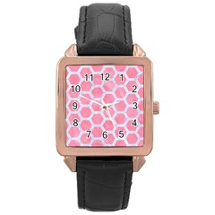 HEXAGON2 WHITE MARBLE & PINK WATERCOLOR Rose Gold Leather Watch