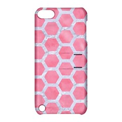 HEXAGON2 WHITE MARBLE & PINK WATERCOLOR Apple iPod Touch 5 Hardshell Case with Stand